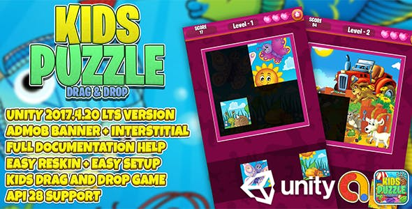 Kids Puzzle Drag and Drop UNITY + Admob + EASY RESKIN ( Jigsaw for kids )
