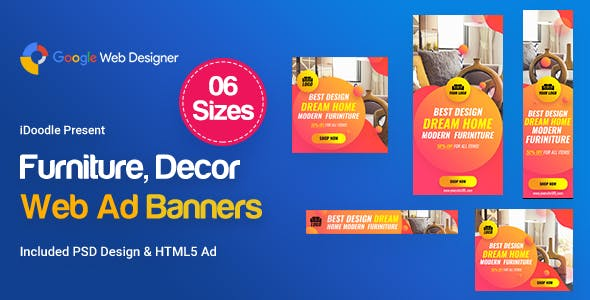 C01 - Furniture, Decor Banners Ad GWD & PSD