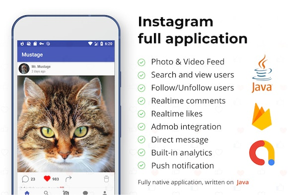 Instagram Android Full Applcation + Firebase Web (Photo&Video) - CodeCanyon Item for Sale