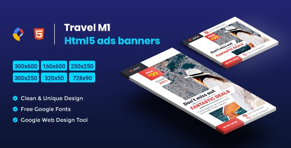 Travel HTML5 Animate Banner Ads- Google Web Design M1