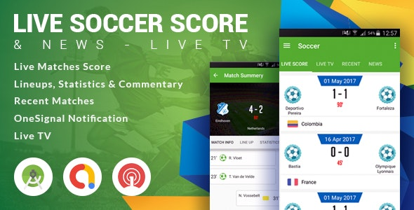 Live Soccer Score & News - Live TV - CodeCanyon Item for Sale