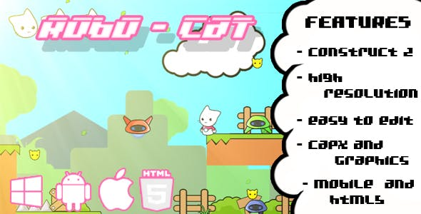 Robo - Cat HTML5 Plataform Game (CAPX + GRAPHICS)