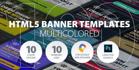 HTML5 Ad Banner Templates for GWD - Multicolor Set