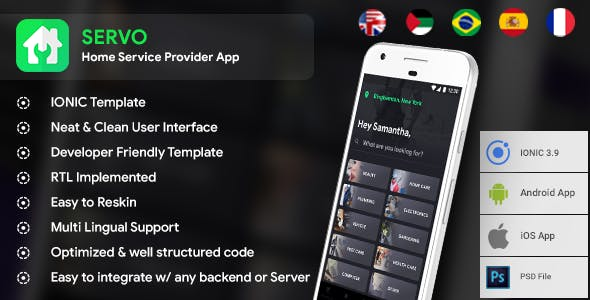 Home Service finder  Android + Service finder iOS App Template | HTML + Css IONIC 3 | Servo