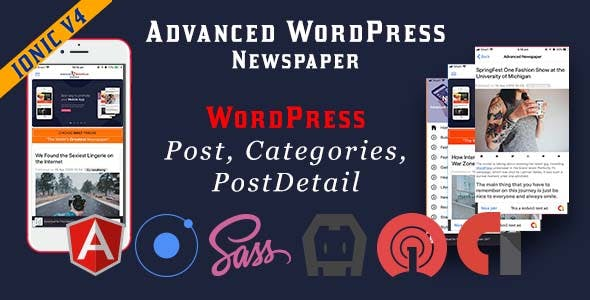 Advanced WordPress Newspaper Ionic 4 Full Mobile Application