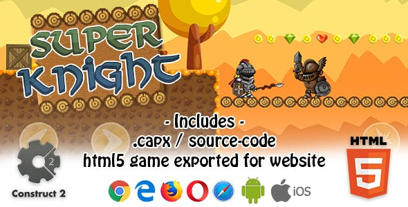 Super Knight HTML5 Platform Game - Construct 2 (.capx + html5 Source-code)
