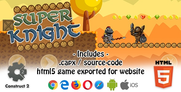 Super Knight HTML5 Platform Game - Construct 2 ( capx +