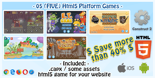 Game Bundle #04 – 05 (Five) HTML5 Platform Games (Construct 2 .capx and Source-Code)