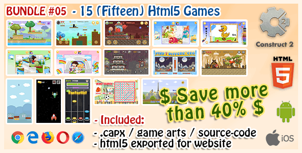 Game Bundle #05 – 15 (Fifteen) HTML5 Games (Construct 2 .capx and Source-Code)