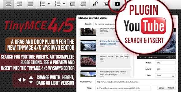 TinyMCE 4 and 5 plugin Youtube search and insert
