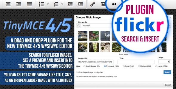 TinyMCE 4 and 5 plugin Flickr image search and place - CodeCanyon Item for Sale