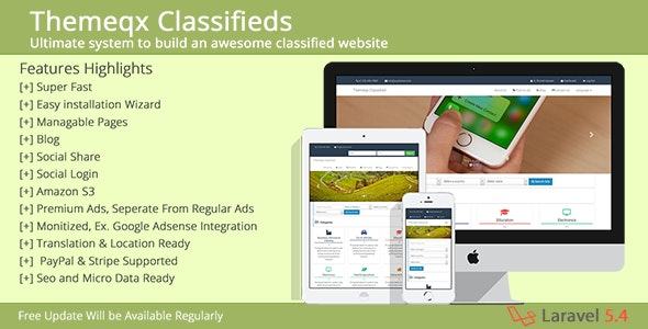 Themeqx Advanced PhP Laravel Classified ads cms by themeqx