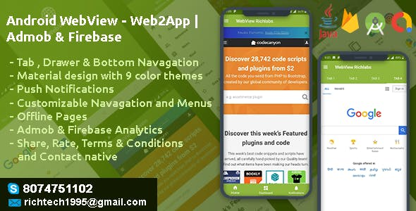 Android WebView - Web2App | Admob & Firebase