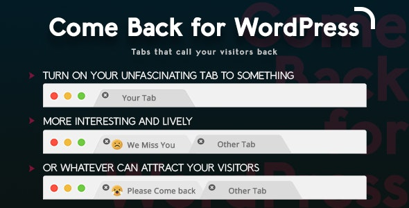 Come Back for WordPress - CodeCanyon Item for Sale