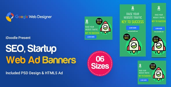 C04 - SEO, Startup Agency Banners GWD & PSD