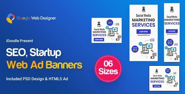 C05 - SEO, Startup Agency Banners GWD & PSD - CodeCanyon Item for Sale