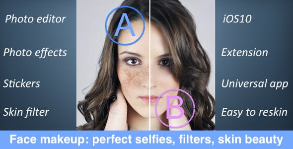 Face makeup: perfect selfies, filters, skin beauty