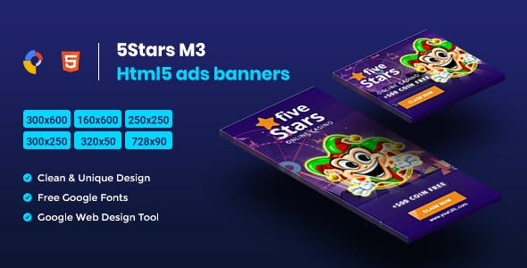 5 Stars HTML5 Animate Banner Ads - GWD M3