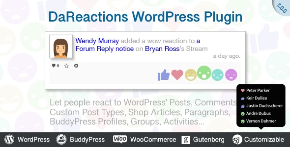 Reactions WordPress Plugin - CodeCanyon Item for Sale