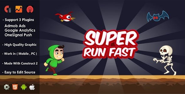 Super Run Fast - HTML5 Construct 2 Game - Support Admob