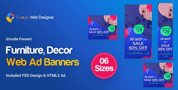 C02 - Furniture, Decor Banners Ad GWD & PSD