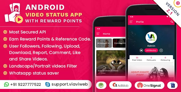 Android Video Status App With Reward Points (WA Status Saver) - CodeCanyon Item for Sale