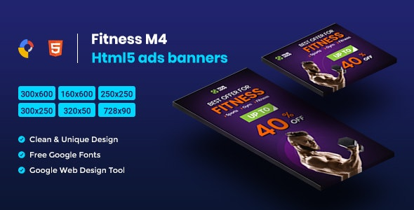 Fitness HTML5 Animate Banner Ads- Google Web Design M4 - CodeCanyon Item for Sale