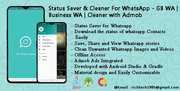 Status Saver & Cleaner For WhatsApp - GB WA | Business WA | Cleaner with Admob