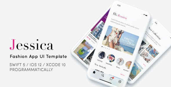 Jessica, Fashion App UI Template - Programmatically