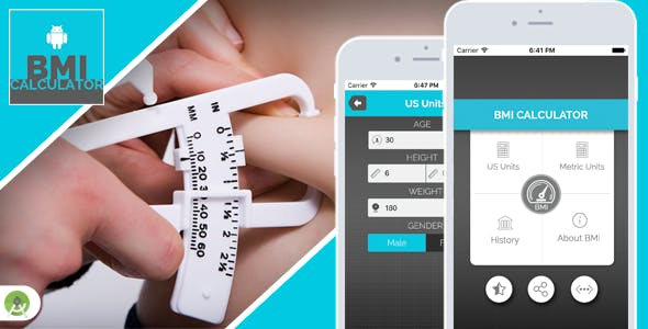 BMI Calculator for Android - Full Application with PSD