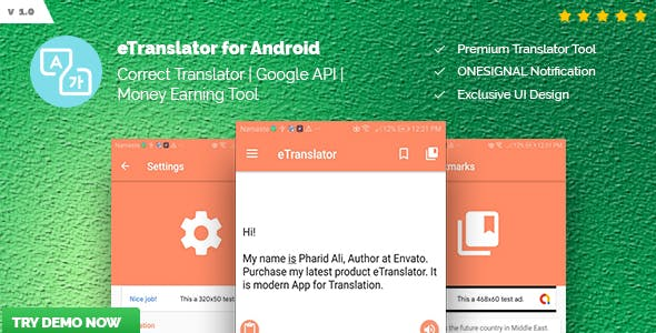 eTranslator - Android Translator | Google API, Money Making Tool, Correct Translation
