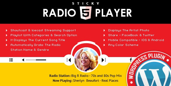 Sticky Radio Player WordPress Plugin - Full Width Shoutcast and Icecast HTML5 Player - CodeCanyon Item for Sale