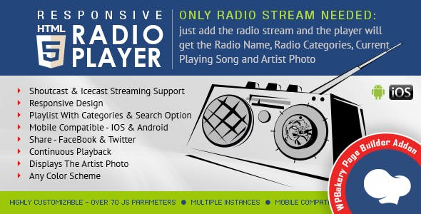Visual Composer Addon - HTML5 Radio Player for WPBakery Page Builder