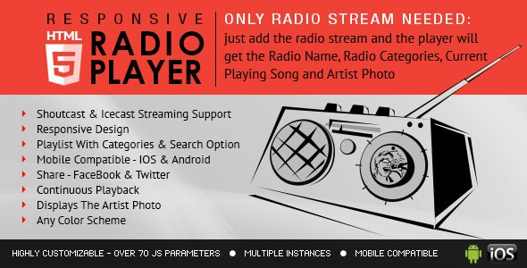 Radio Player With Playlist - Shoutcast and Icecast - CodeCanyon Item for Sale