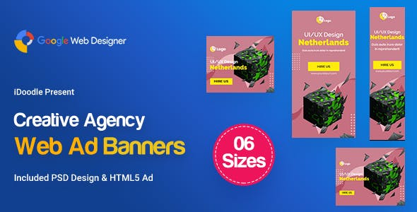 C13 - Creative, Startup Agency Banners HTML5 Ad - GWD & PSD