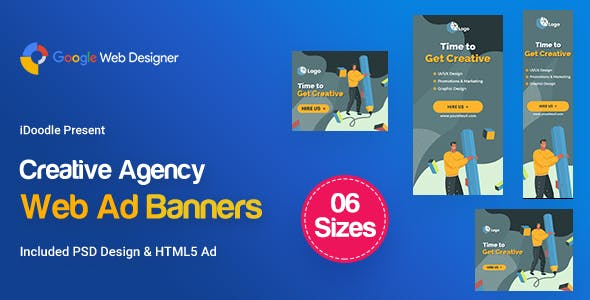 C14 - Creative, Startup Agency Banners HTML5 Ad - GWD & PSD