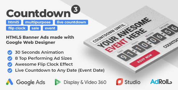 Countdown 3 - Event Promotion HTML5 Banners with Live Countdown (GWD, jQuery)
