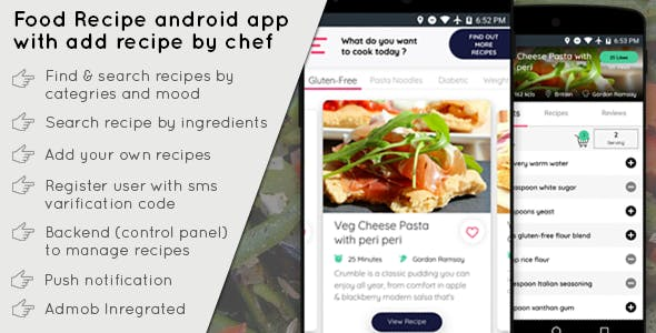 Food Recipe android app with add recipe by chef - CodeCanyon Item for Sale