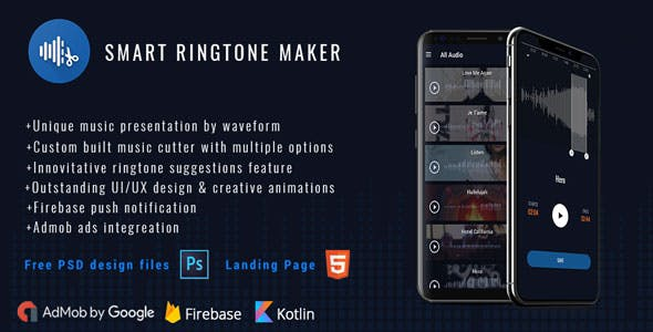 Smart Ringtone maker ( PSD files + Landing Page)