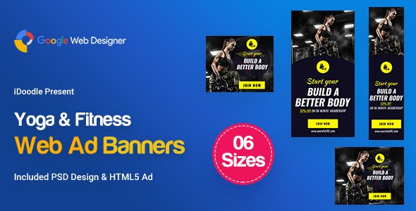 C19 - Yoga & Fitness Banners HTML5 - GWD & PSD