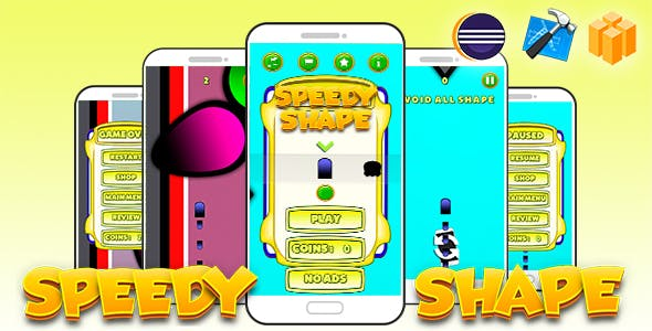 Speedy Shape Android iOS Buildbox with Admob Ads and Accelerometer Control