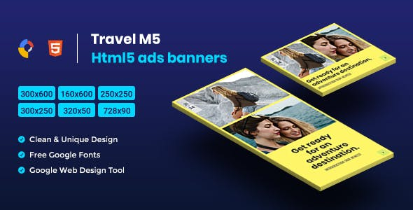 Travel HTML5 Animate Banner Ads - M5