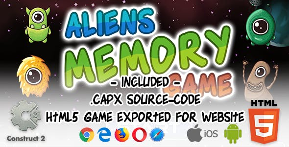 Aliens Memory Game - Construct 2 Source Code and HTML5 Files for Website