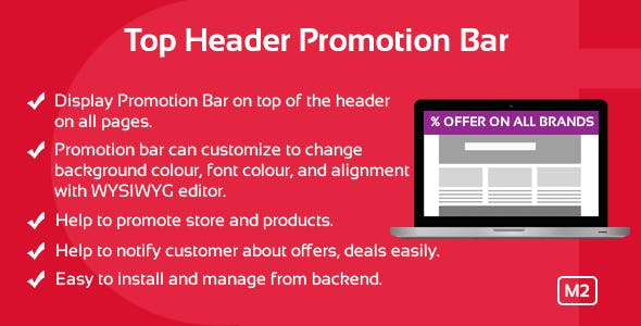 Top Header Promotion Bar Magento 2 Extension