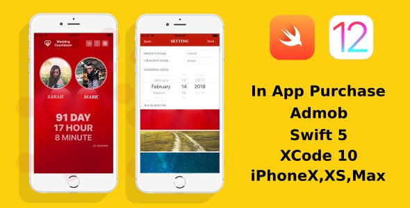 Wedding Countdown - iOS 12 | Swift 5 | Admob | In App Purchase
