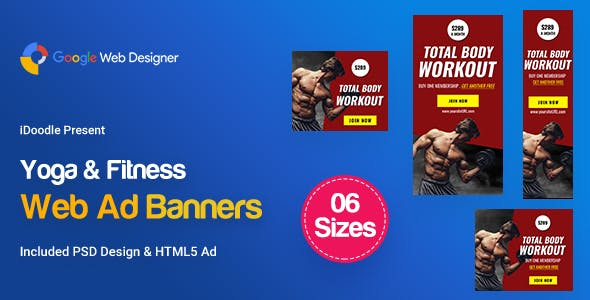 C20 - Yoga & Fitness Banners HTML5 - GWD & PSD