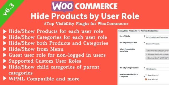 WooCommerce Hide Products | Products, Categories Visibility by User Roles