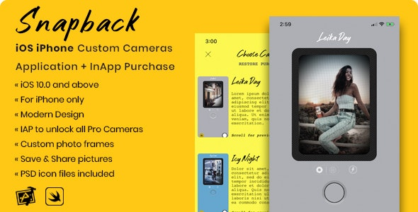 Snapback | iOS iPhone Custom Cameras Application + In-App Purchase - CodeCanyon Item for Sale