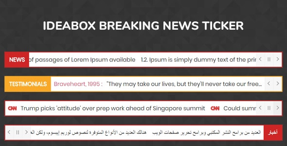 Ideabox Breaking News Ticker - jQuery Plugin by tgundogdu