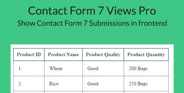 Contact Form 7 Views Pro -Drag & Drop Form Submissions View builder for Contact Form 7